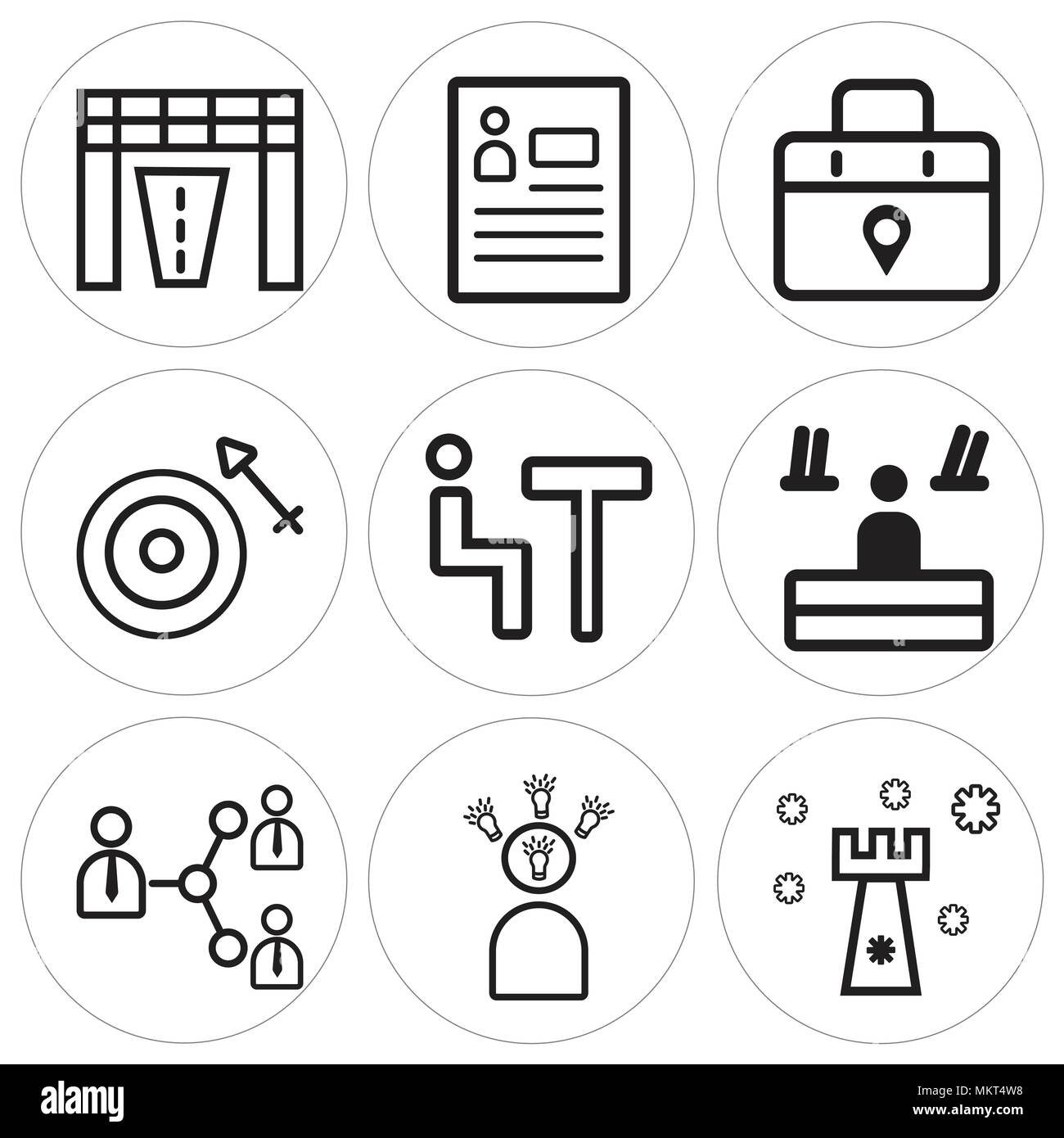 Set Of 9 simple editable icons such as Strategy, Speech, Connection ...
