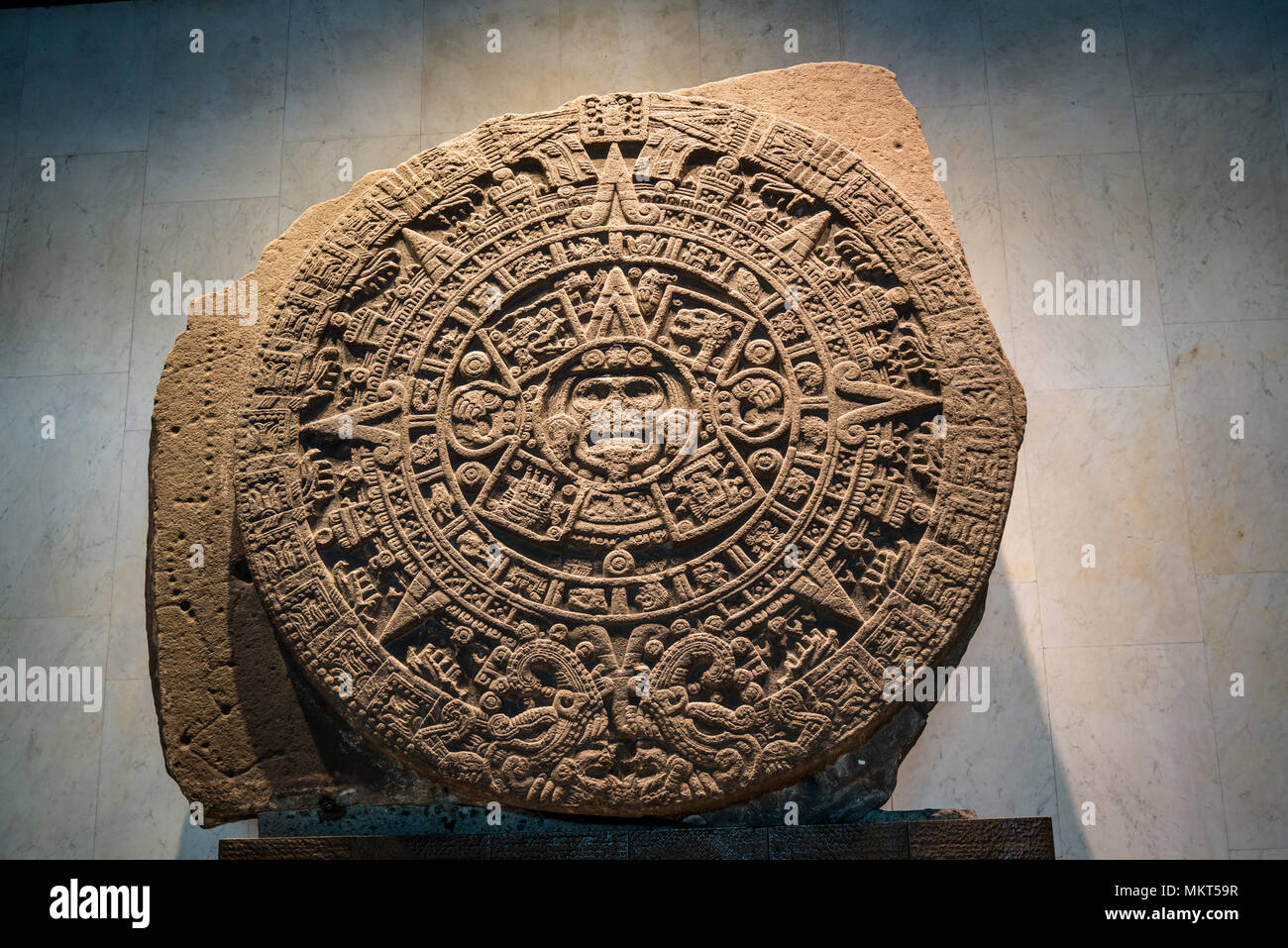 Aztec Room, Sun Stone or Aztec calendar stone, a late post-classic Mexica sculpture, National Museum of Anthropology, Museo Nacional de Antropología,  - Stock Image