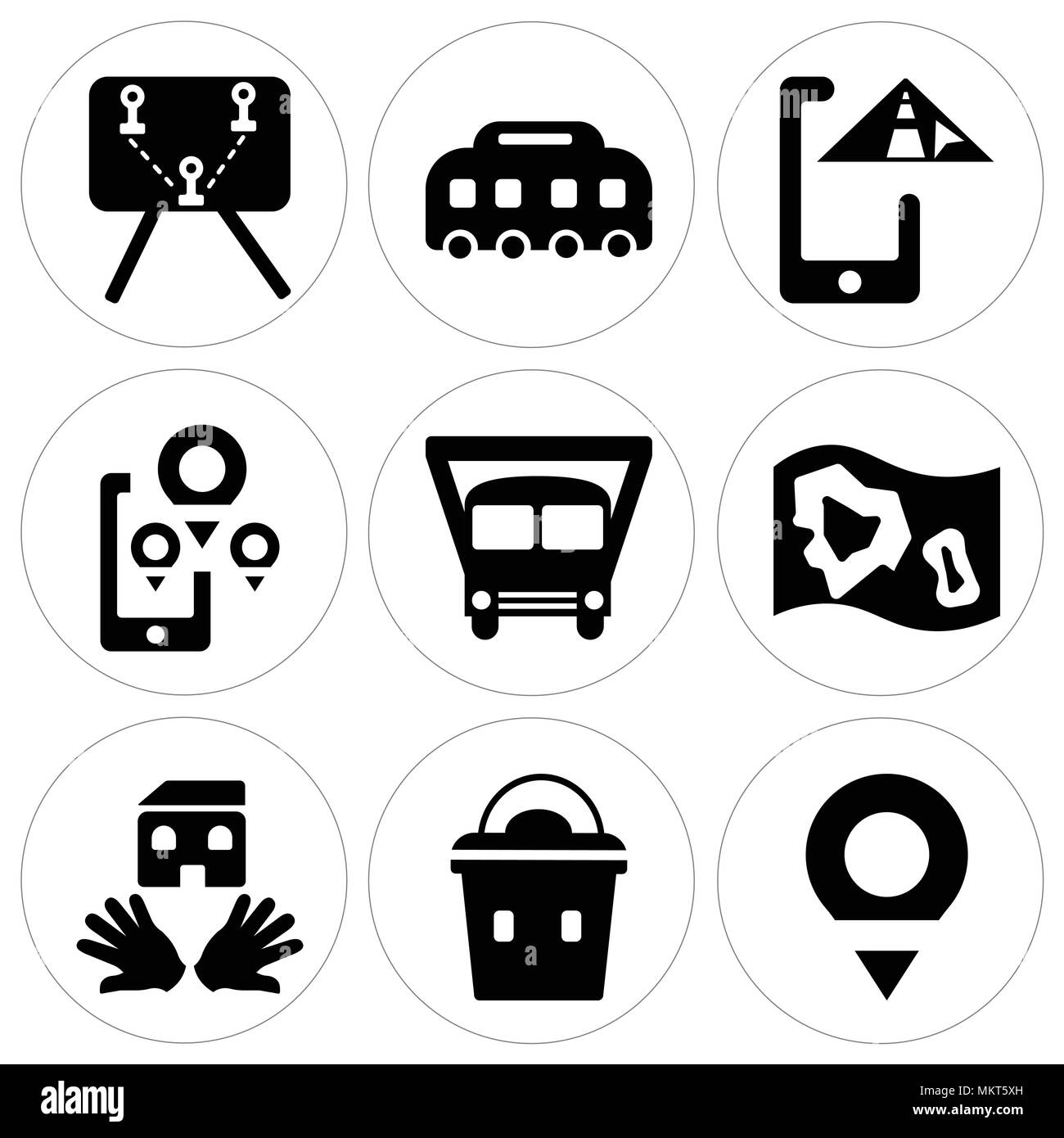 Set Of 9 simple editable icons such as Placeholder, Lunchbox, House