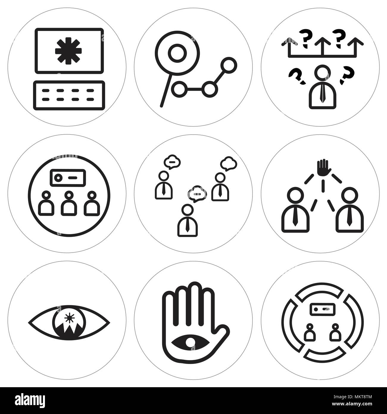 set of 9 simple editable icons such as conference focus goal