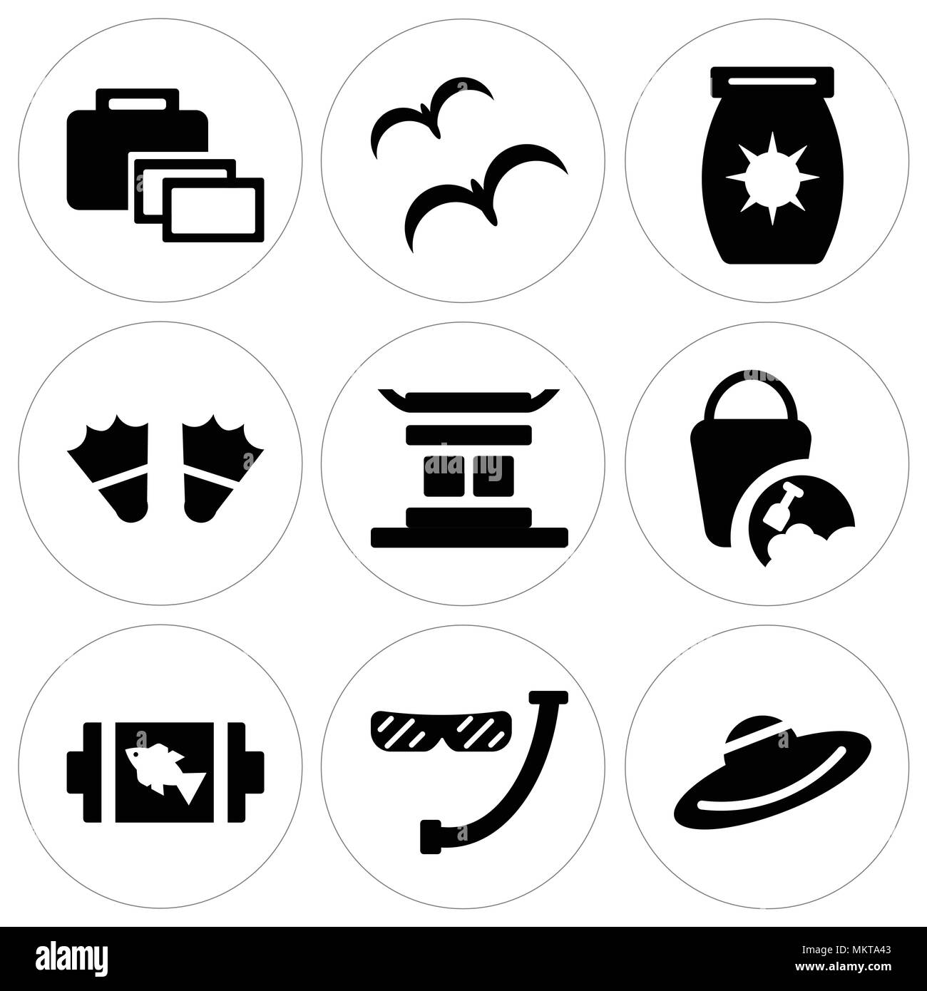Set Of 9 Simple Editable Icons Such As Straw Hat Diver Snorkel And