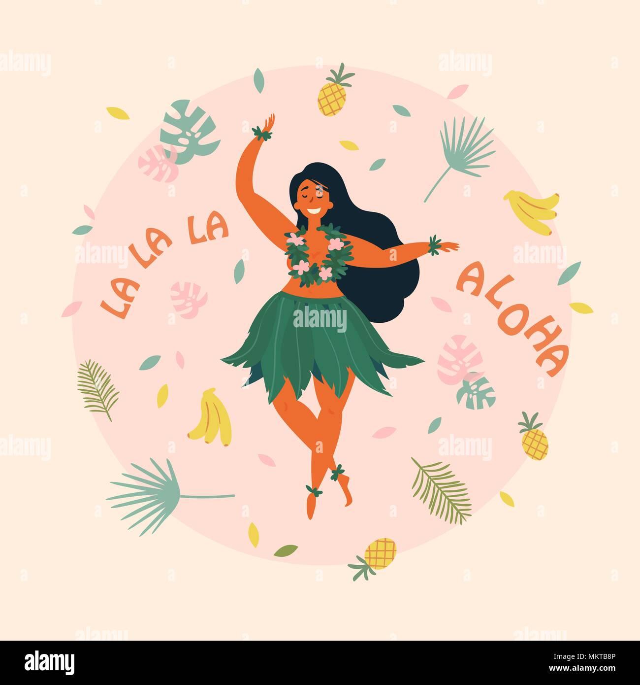 Aloha. Hawaiian holidays poster with Hula dancer - Stock Vector