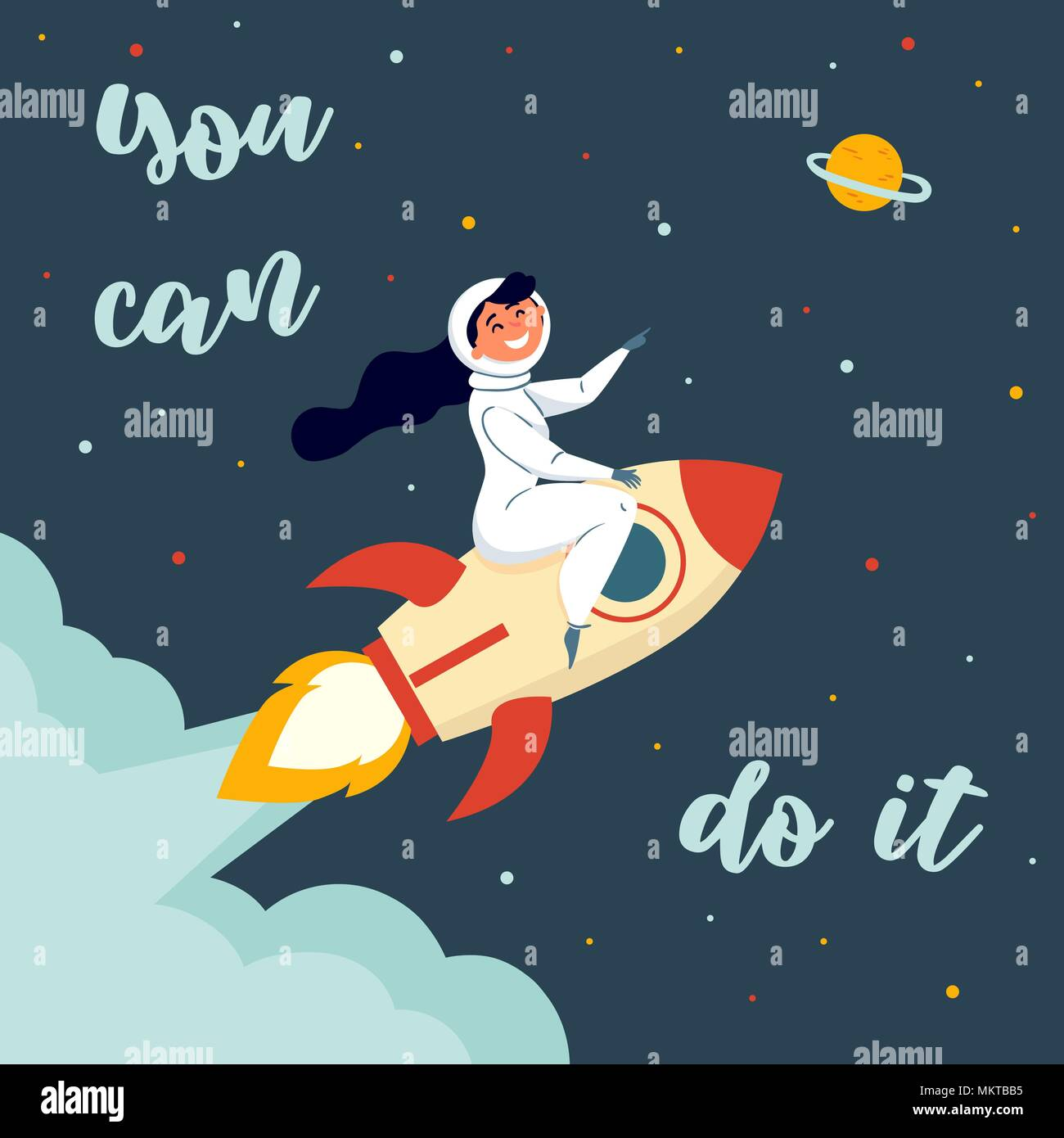 Woman astronaut riding a rocket. You can do it - Stock Image