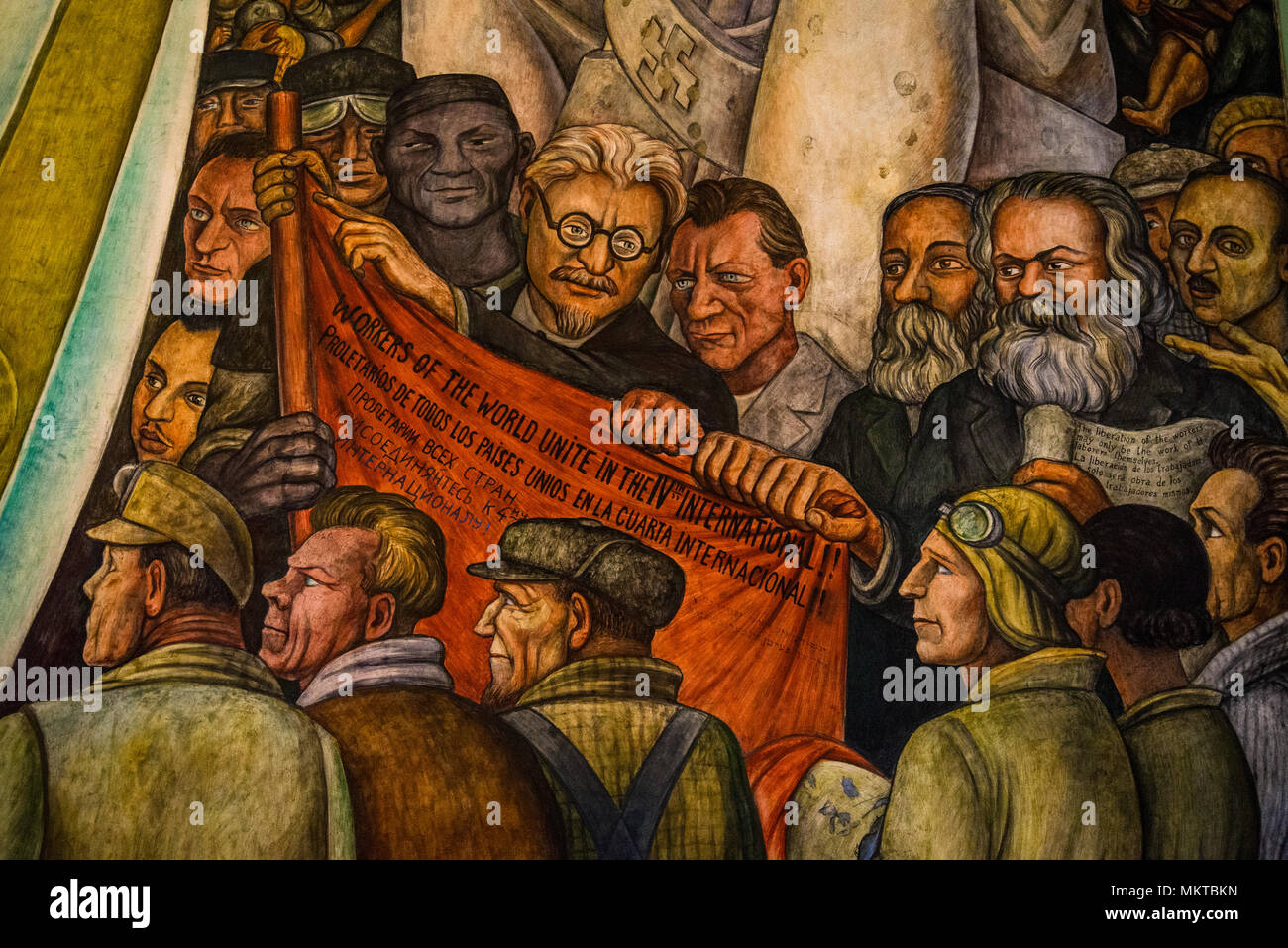 leon trotsky in the mural by diego rivera man at the