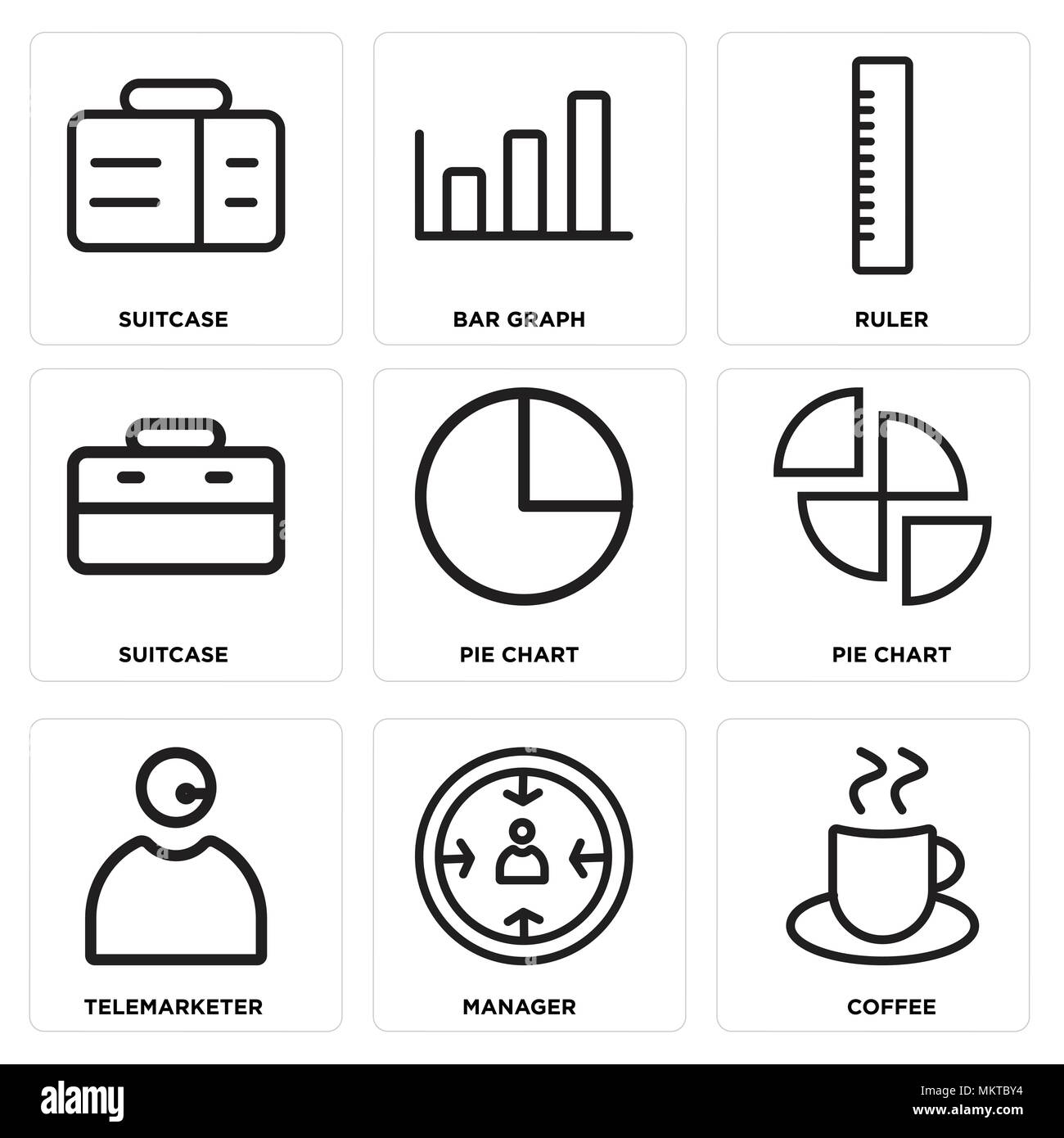 Set Of 9 simple editable icons such as Coffee, Manager, Telemarketer, Pie chart, Suitcase, Ruler, Bar graph, can be used for mobile, web - Stock Image