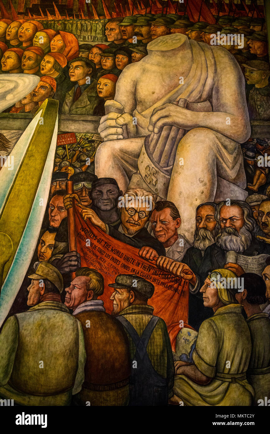 Leon Trotsky In The Mural By Diego Rivera Man At The Crossroads Or