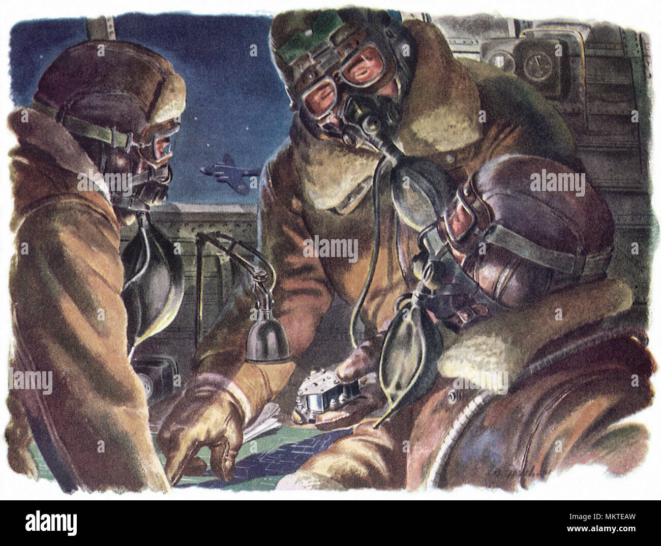 Airmen during Night Bombing Raid - Stock Image