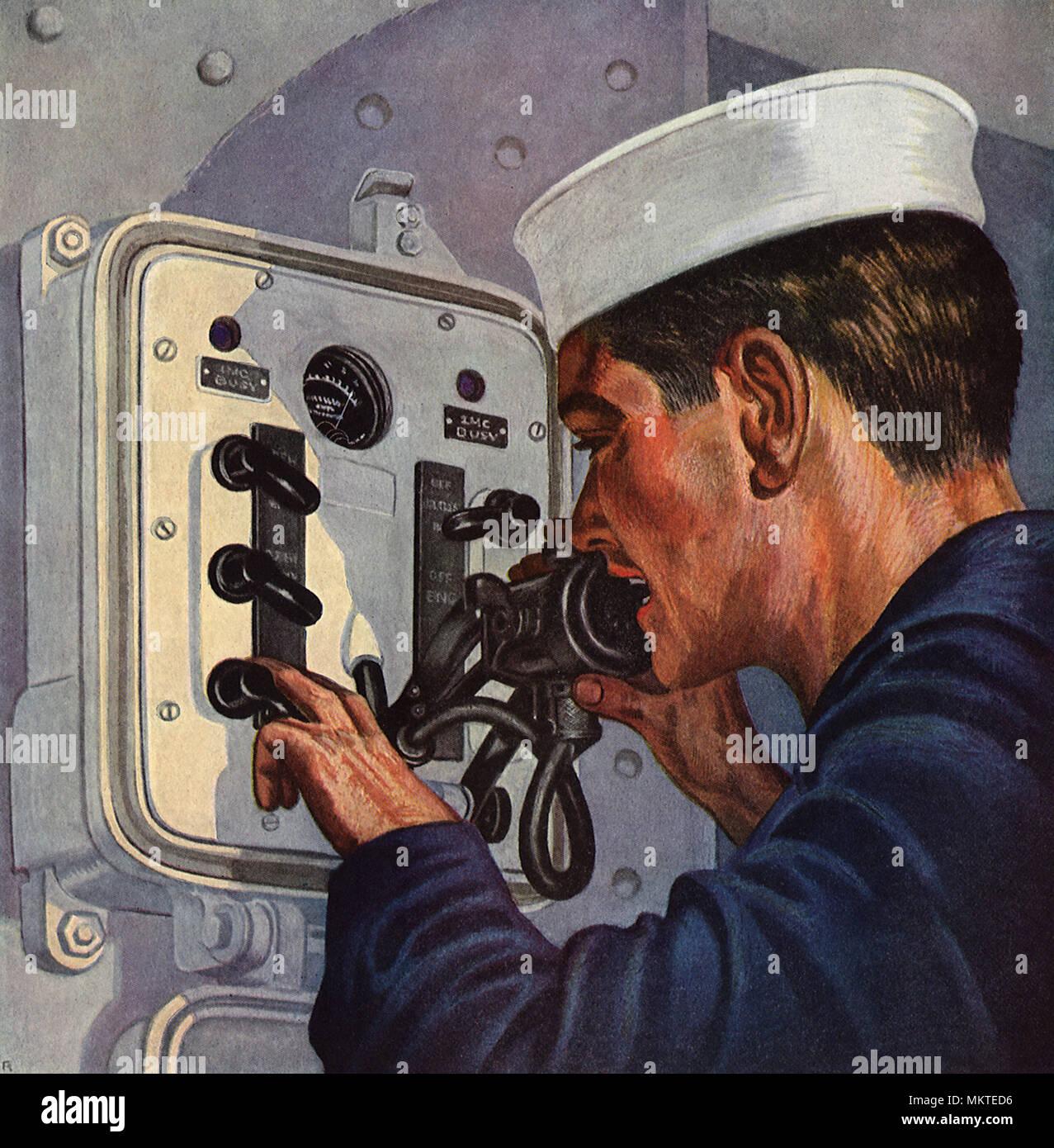 Sailor on Loud-speaking Telephone - Stock Image