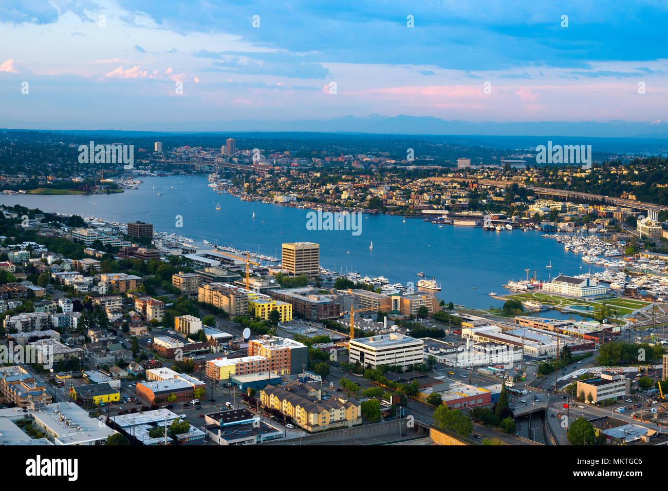 Lake Union and Cascade district, Seattle, Washington State, USA Stock Photo