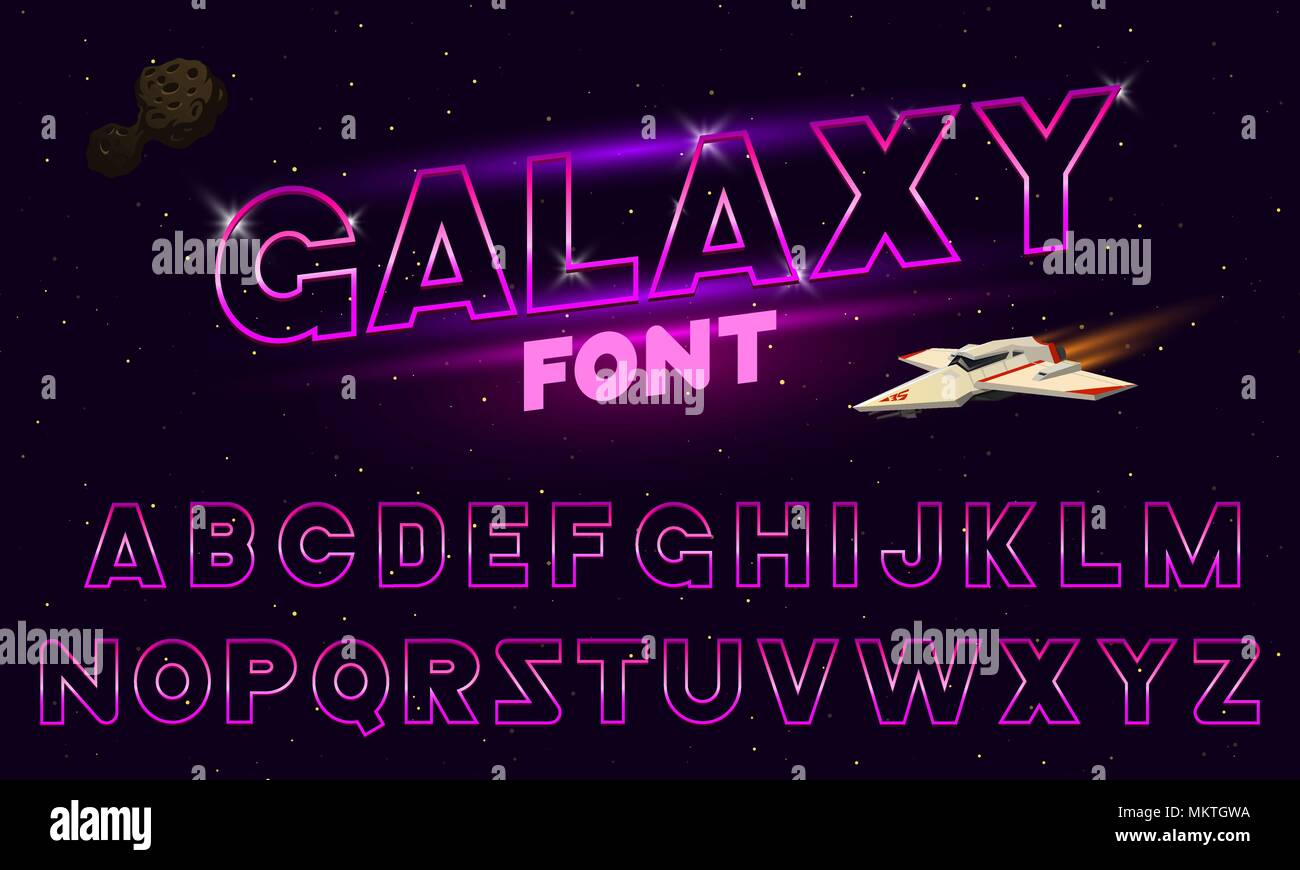 80 s purple neon retro font. Futuristic chrome letters. Bright Alphabet on dark background. Light Symbols Sign for night show in club. concept of galaxy space. Set of types. Outlined version. - Stock Image