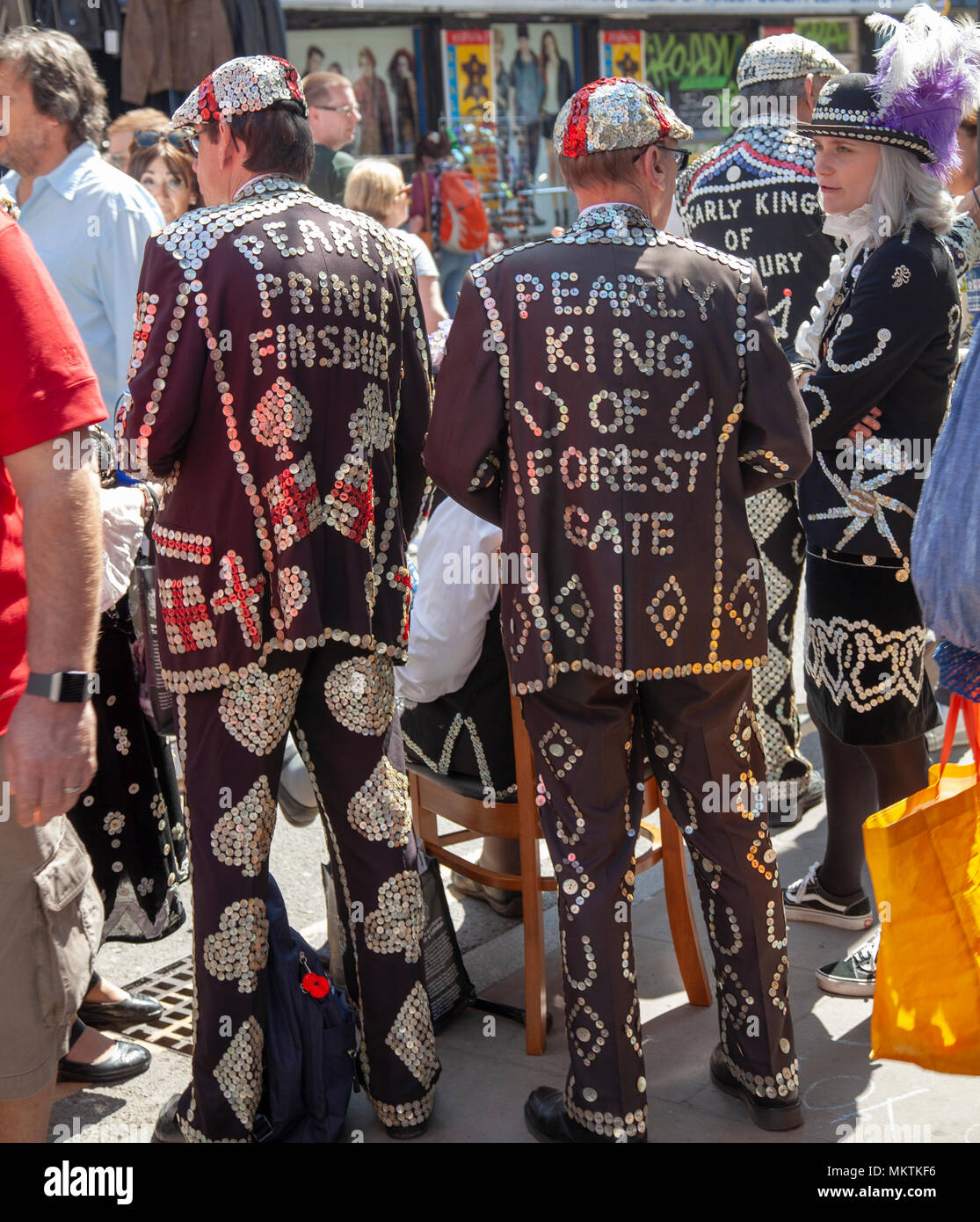Pearly Kings and Queens Raise Money on Brick Lane in Shoreditch, London UK - Stock Image