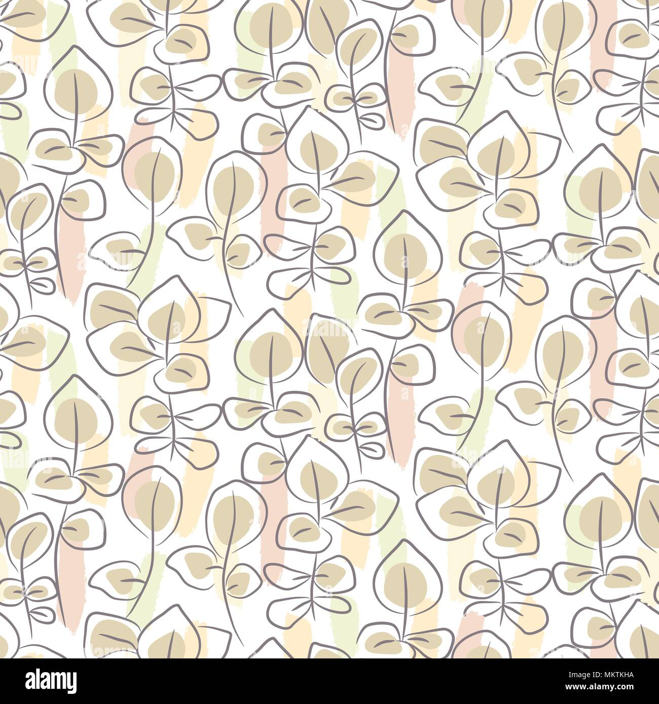 Hand drawn eucalyptus seamless pattern. - Stock Vector