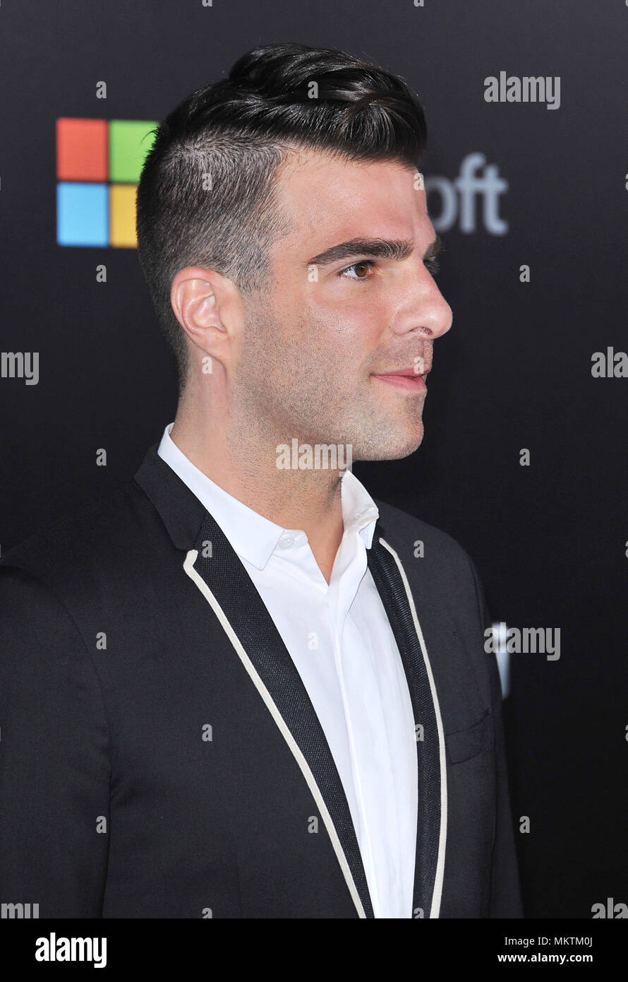 Zachary Quinto  arriving at Star Trek Into Darkness Premiere at the Dolby Theatre in Los Angeles.Zachary Quinto  Red Carpet Event, Vertical, USA, Film Industry, Celebrities,  Photography, Bestof, Arts Culture and Entertainment, Topix Celebrities fashion /  Vertical, Best of, Event in Hollywood Life - California,  Red Carpet and backstage, USA, Film Industry, Celebrities,  movie celebrities, TV celebrities, Music celebrities, Photography, Bestof, Arts Culture and Entertainment,  Topix, headshot, vertical, one person,, from the year , 2013, inquiry tsuni@Gamma-USA.com - Stock Image