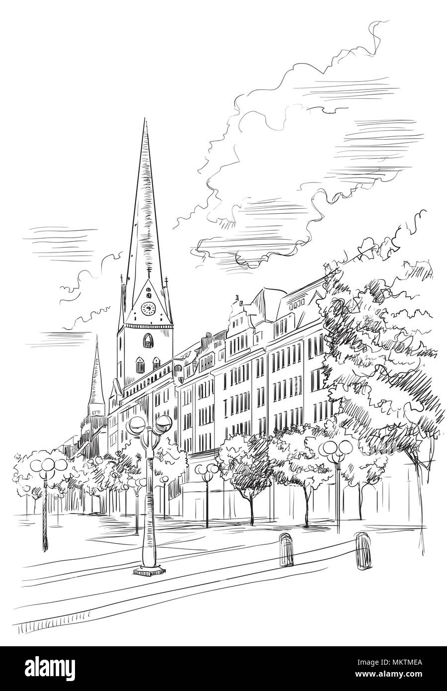 View of hauptkirche st peters church in hamburg germany landmark of hamburg vector hand drawing illustration in black color isolated on white bac