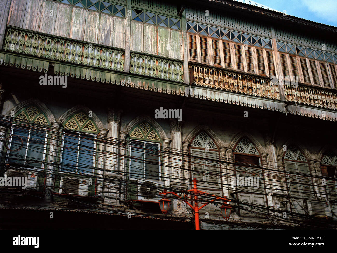 Thai Buildings - Shophouse building in Chinatown in Bangkok in Thailand in Southeast Asia Far East. Architecture History Shophouses Travel - Stock Image