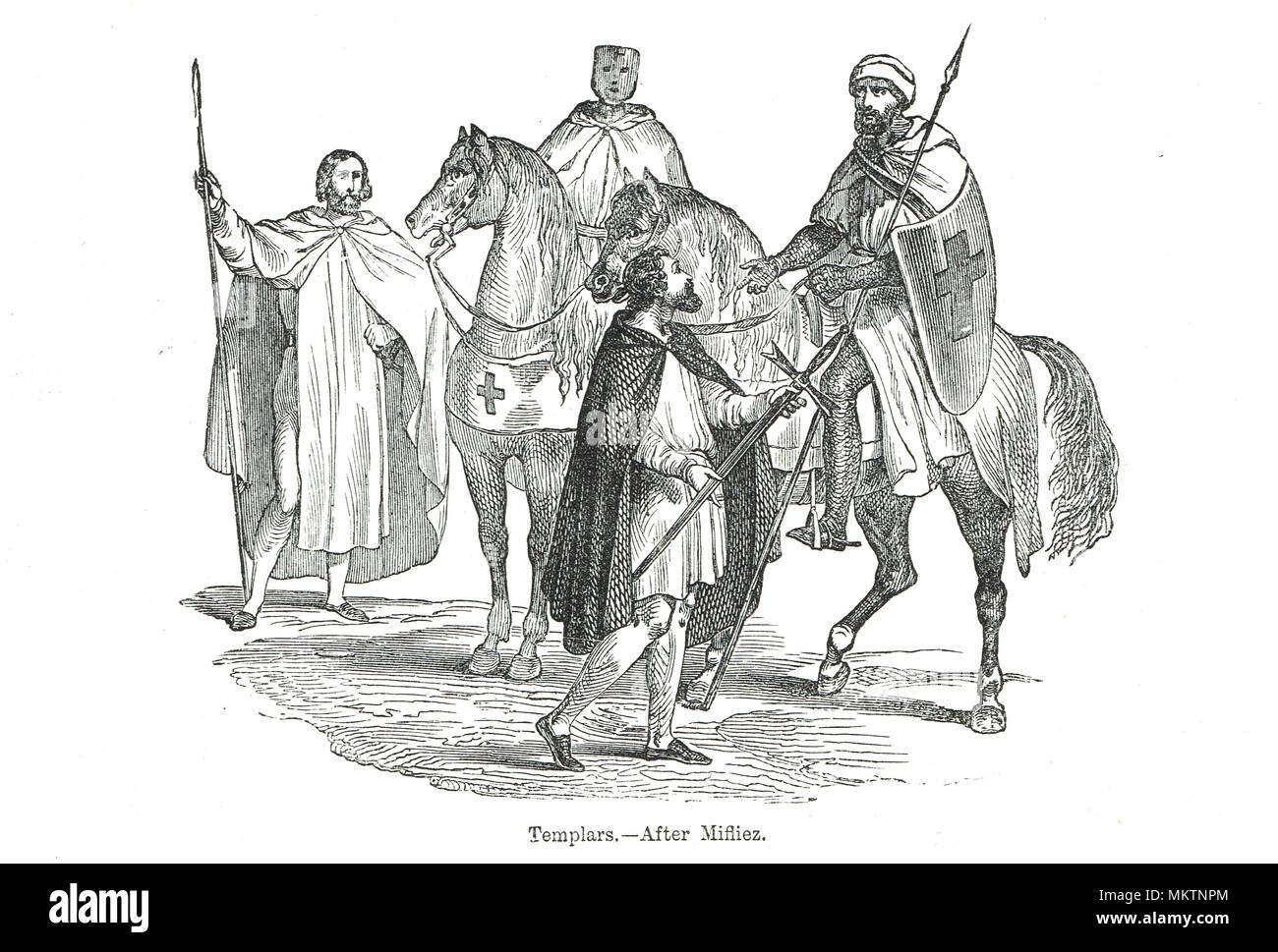 Knights Templars after Mifliez - Stock Image