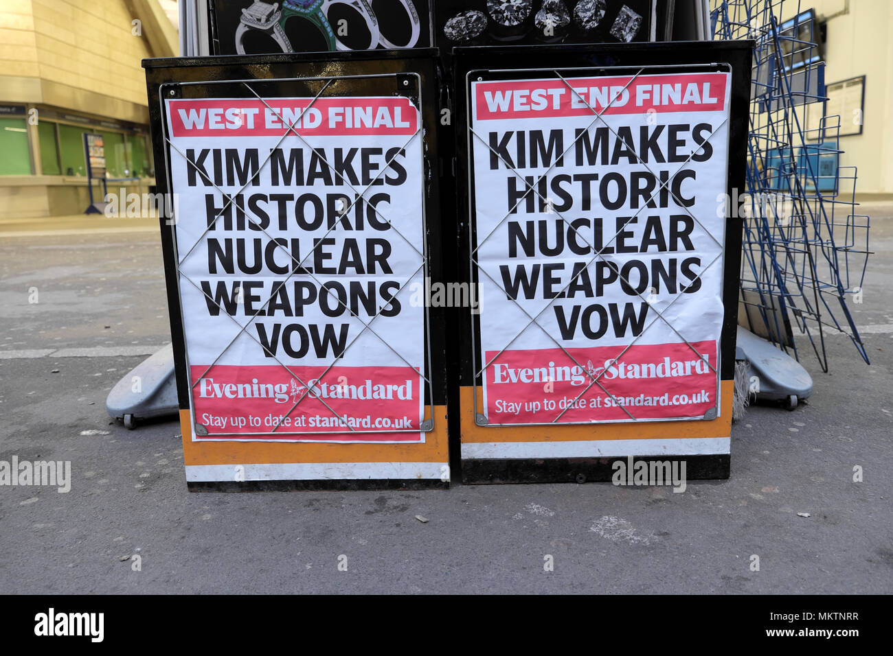 Evening Standard newspaper a poster advert 'Kim Makes Historic Nuclear Weapons Vow'  outside newsstand on 28 April 2018 in London UK - Stock Image