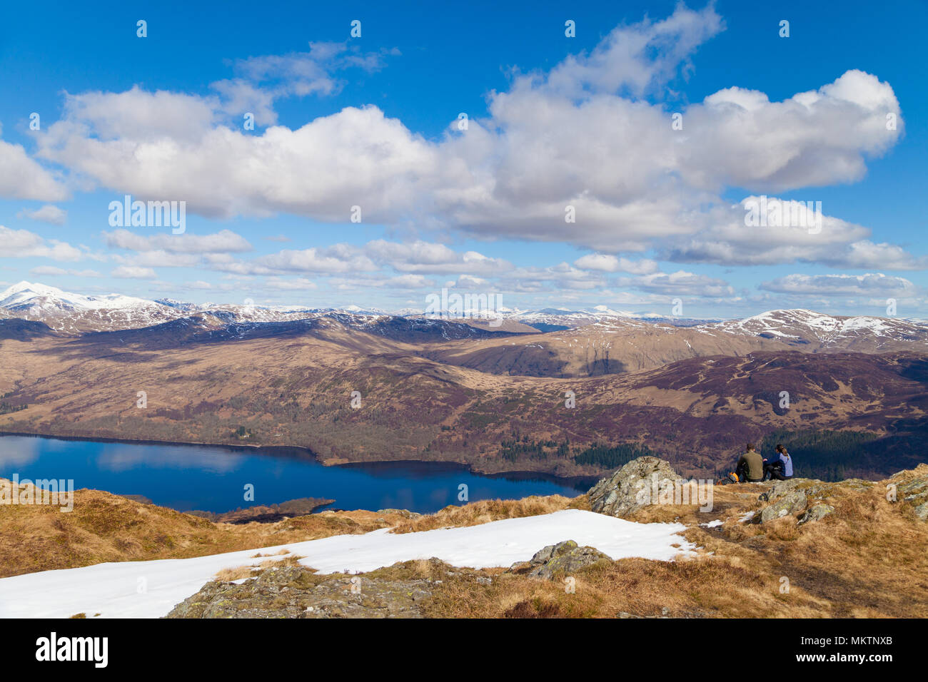 Looking down to Loch Katrine from the top of ben Venue, Trossachs Scotland Stock Photo