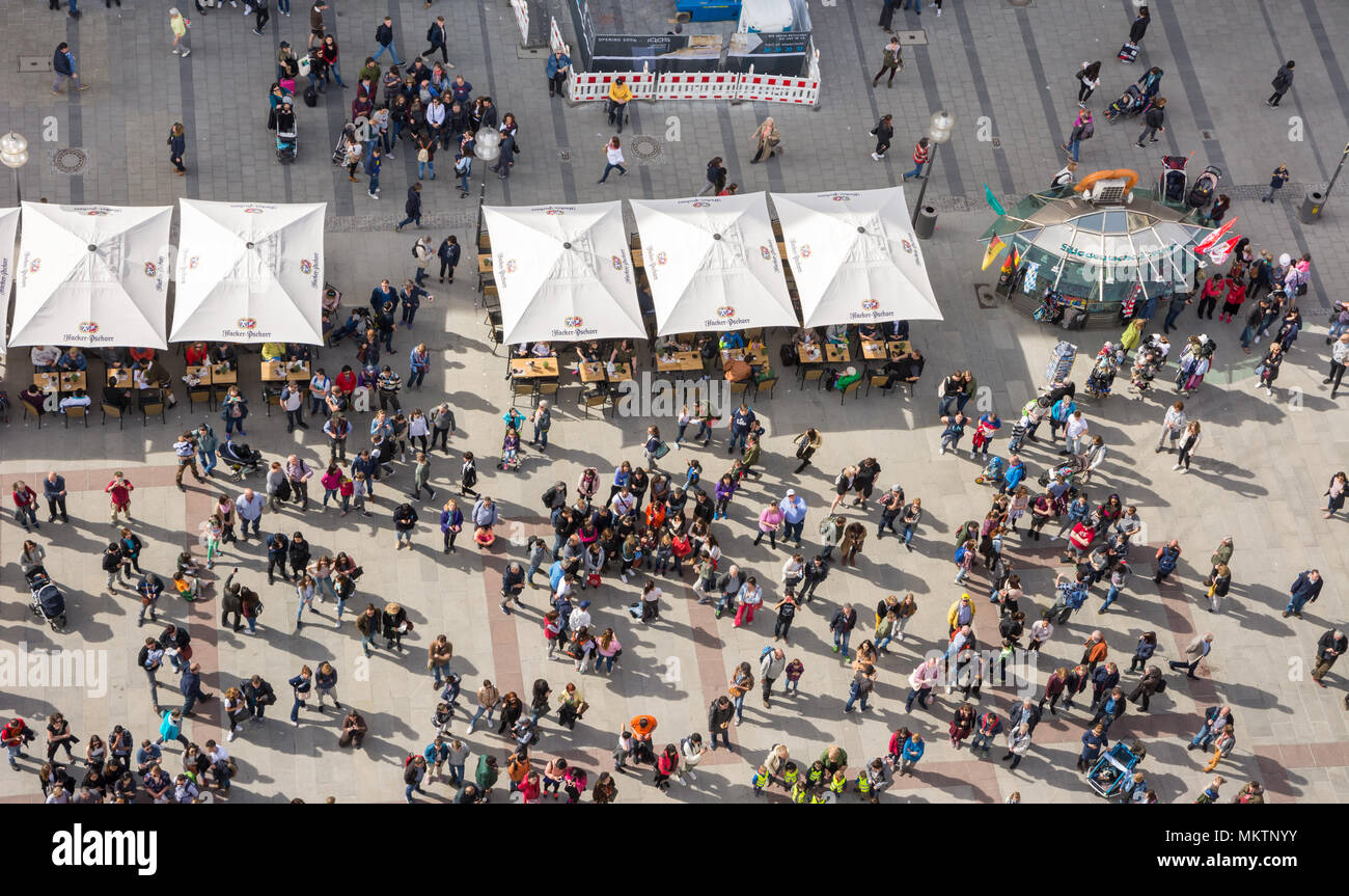 MUNICH, GERMANY - APRIL 4: Aerial view over the Marienplatz in Munich, Germany on April 4, 2018. Crowds of people are at the square. - Stock Image