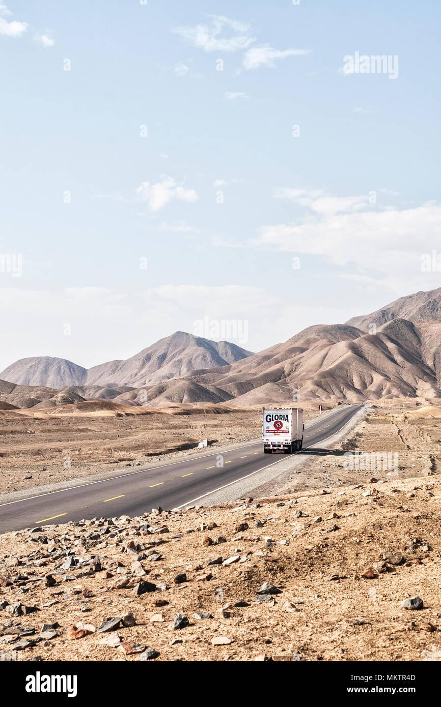 Panamerican Highway (Carretera Panamericana Norte). Huarney, Department of Ancash, Peru. - Stock Image