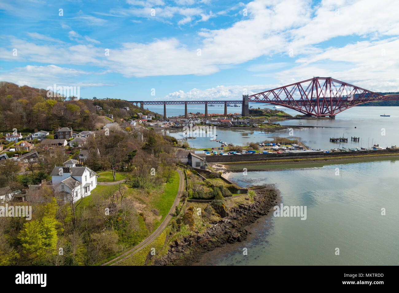 North Queensferry seen from the Forth Road Bridge, Fife Scotland - Stock Image