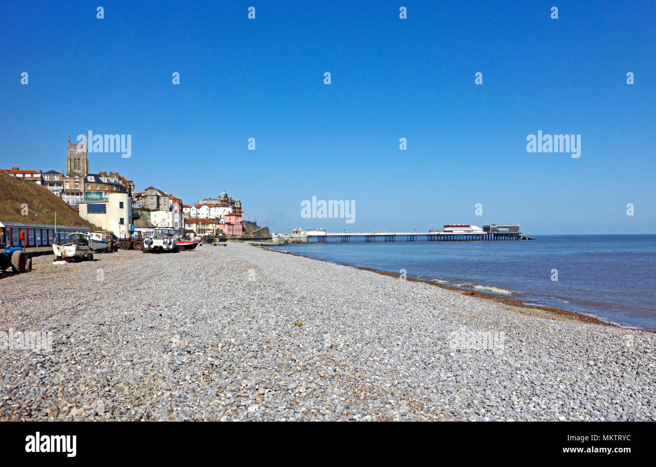 A View From The East Beach Looking Towards Seaside Town Of Cromer Norfolk England United Kingdom Europe