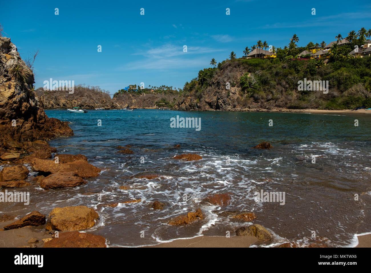 Playa Rosa beach in Careyes Punta Careyes on west coast of Jalisco Province, Mexico - Stock Image