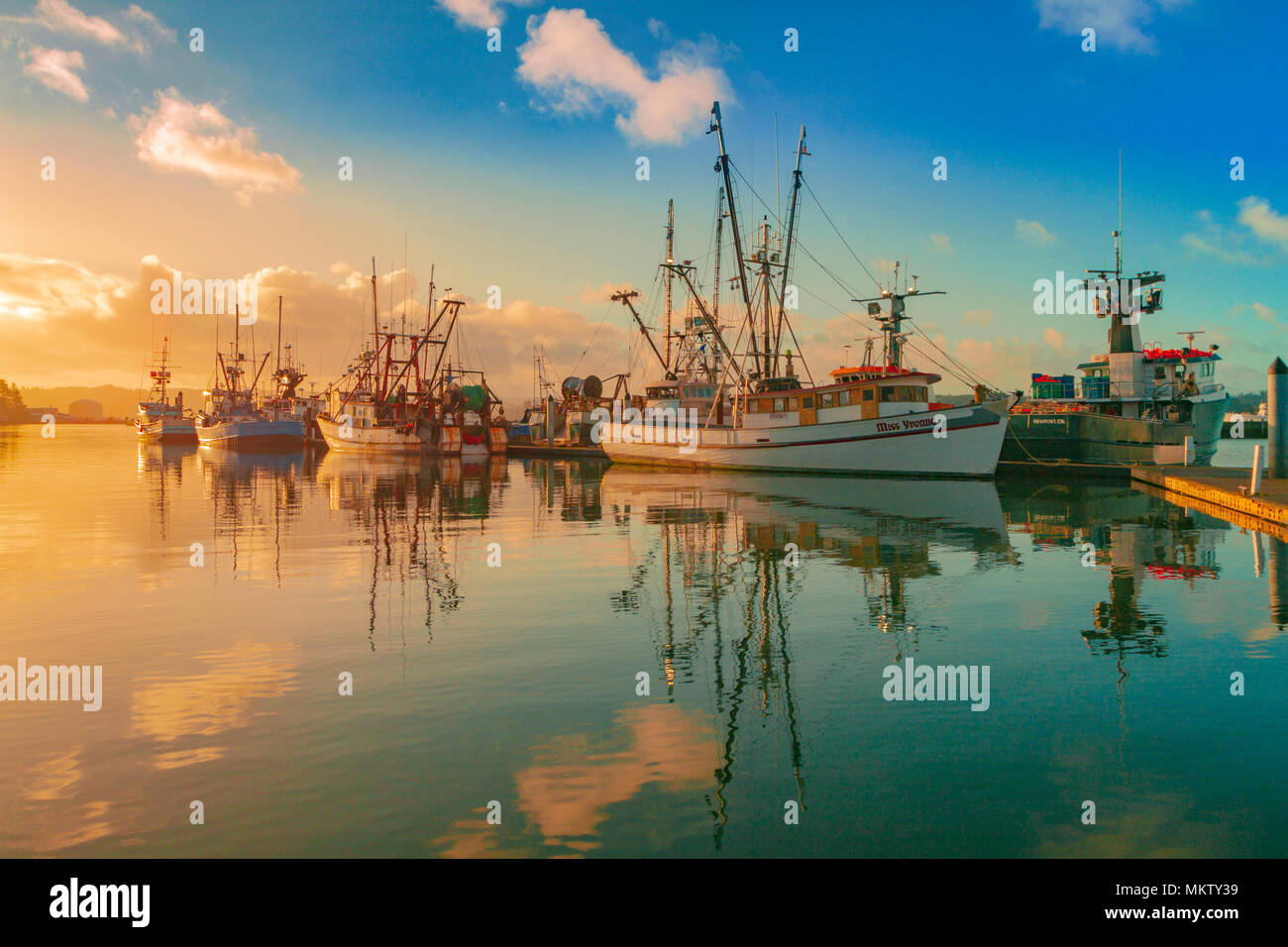 boats, moored, morning, bay front, clouds, blue sky, water, reflections - Stock Image