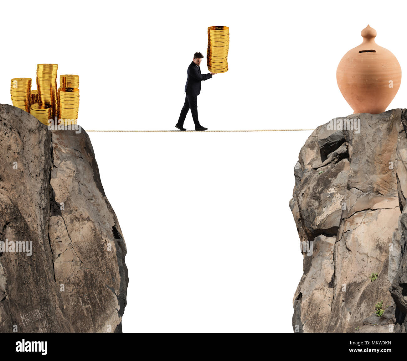 Businessman moves a pile of coins to a moneybox. concept of difficulty to saving money - Stock Image