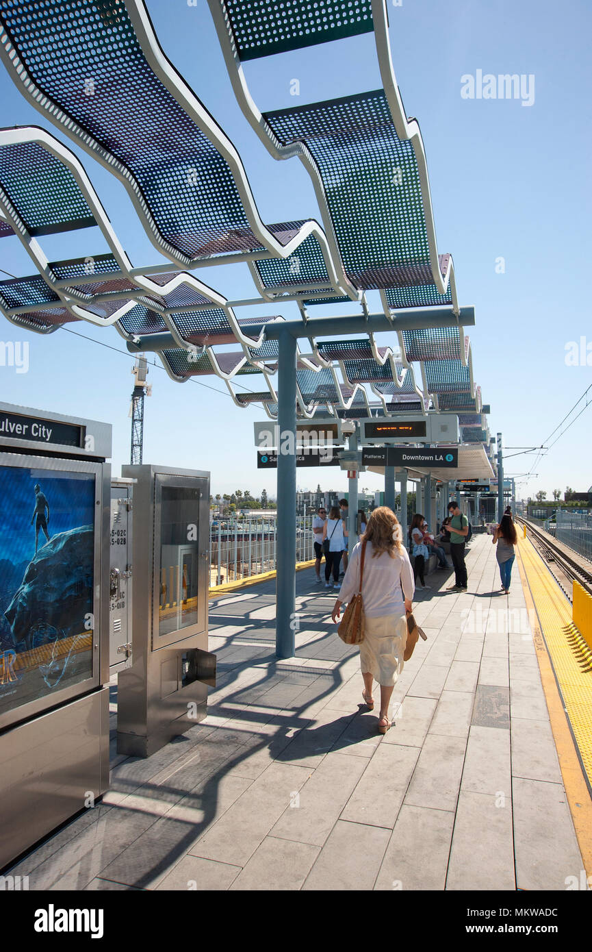 Metro Rail line station at Culver City, CA - Stock Image