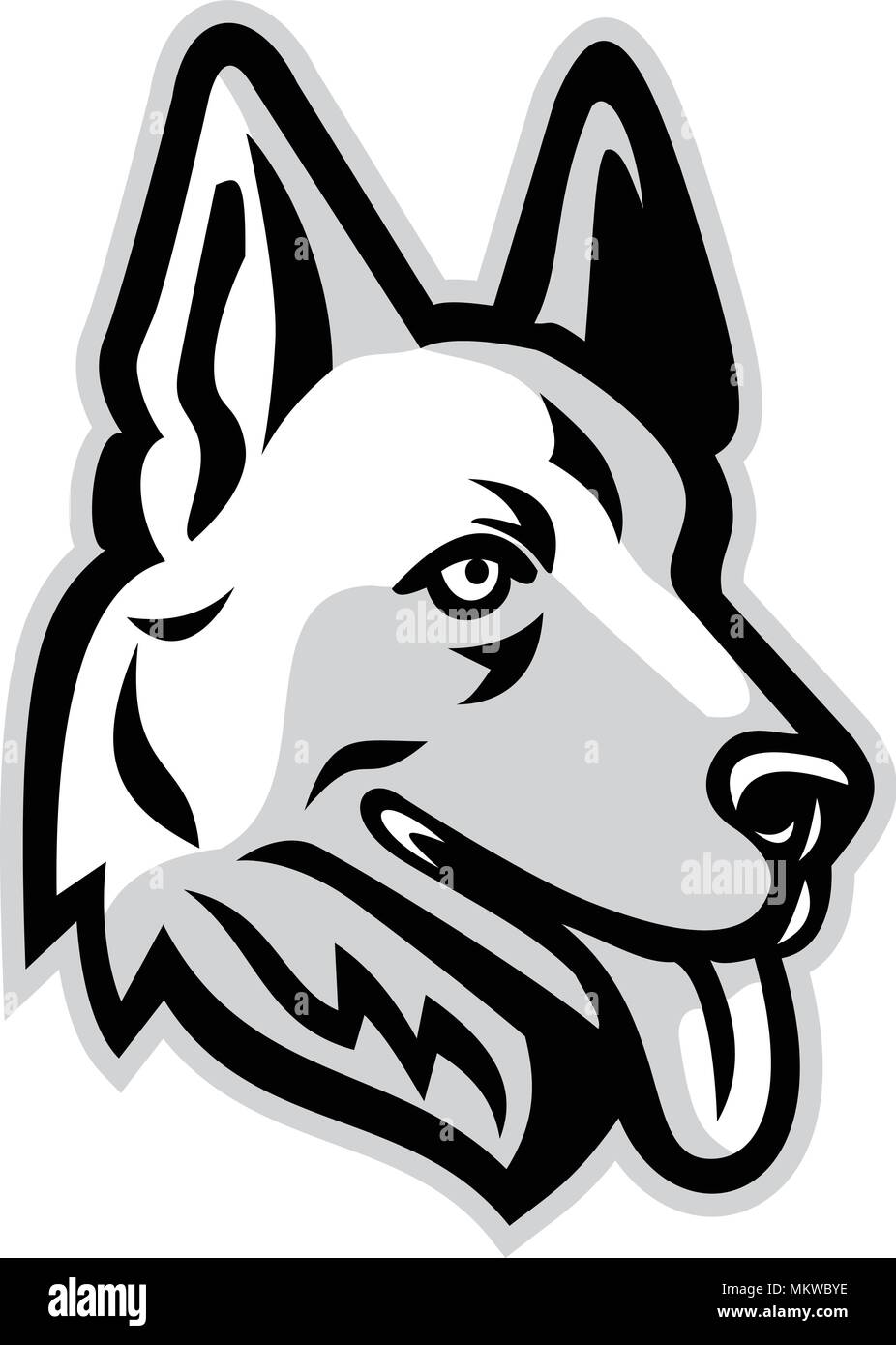 Mascot icon illustration of head of a  German Shepherd or Alsatian wolf dog  viewed from side on isolated background in retro style. - Stock Vector