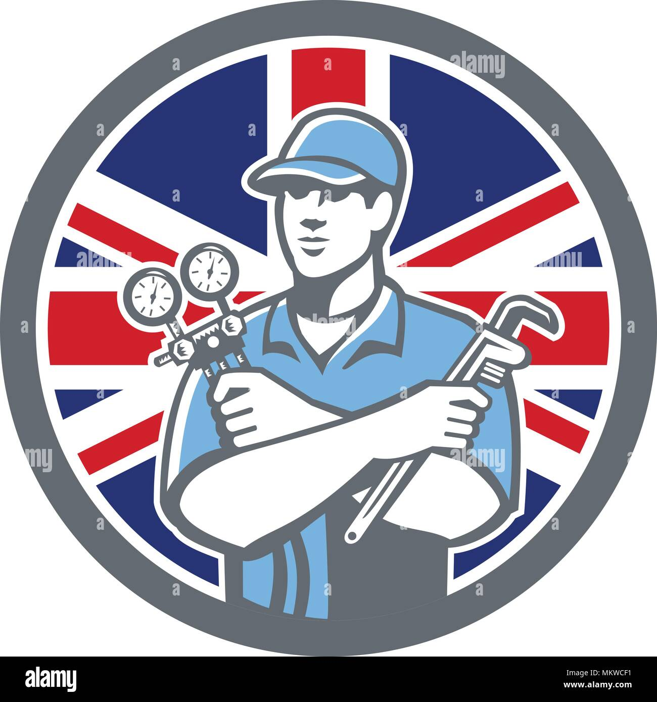 Icon retro style illustration of a British Refrigeration Mechanic, air conditioning or air-con serviceman holding manifold gauge with United Kingdom U Stock Vector