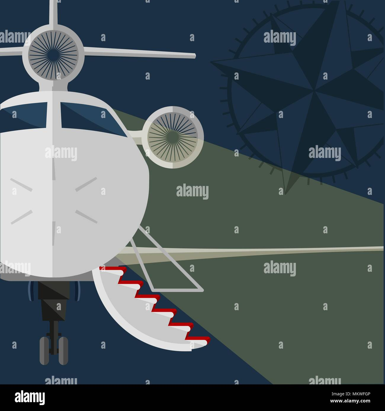 Vector private jet. open gangway, red carpet. Rose of Wind. Flat design. retro style poster - Stock Vector