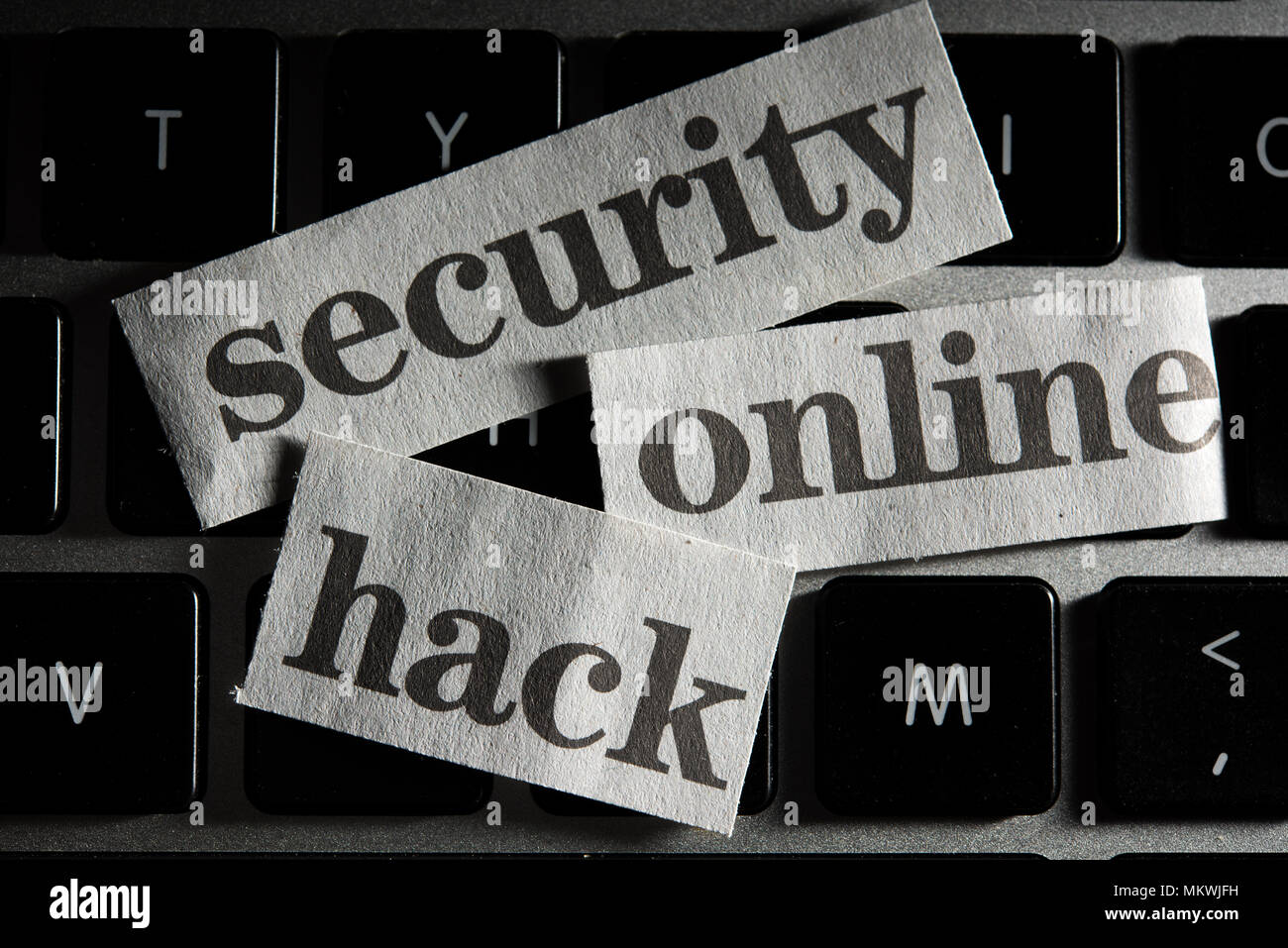 Online Security Concept with cut out words from newspaper Stock Photo