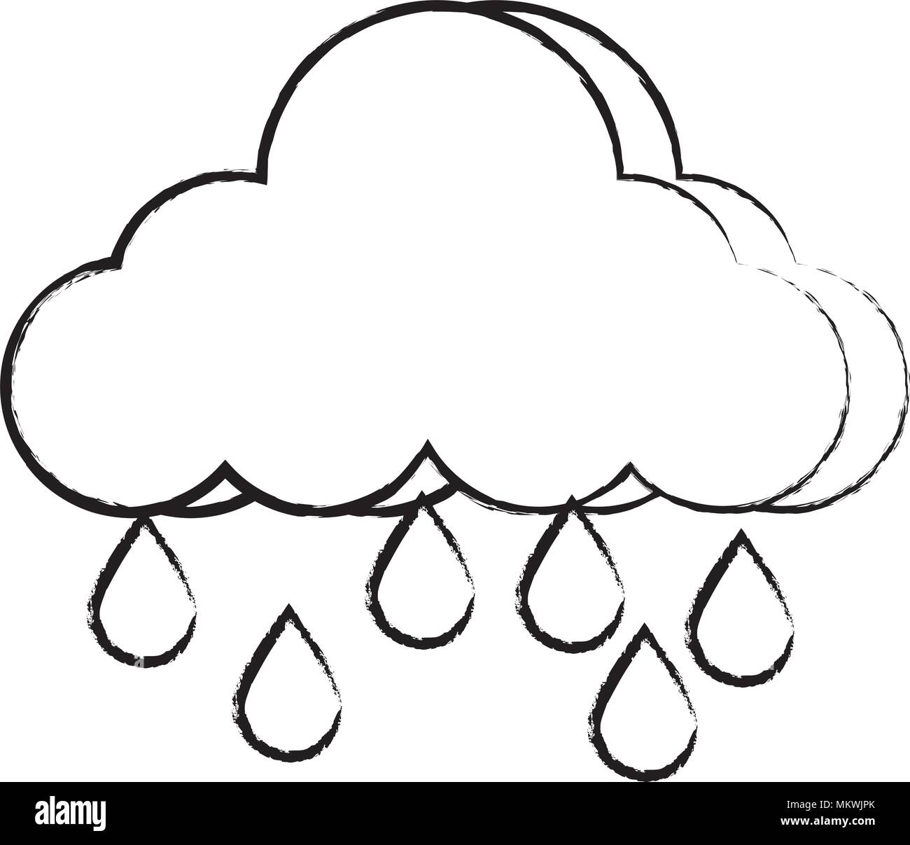 cloud with rainy drops icon over white background, vector illustration - Stock Image