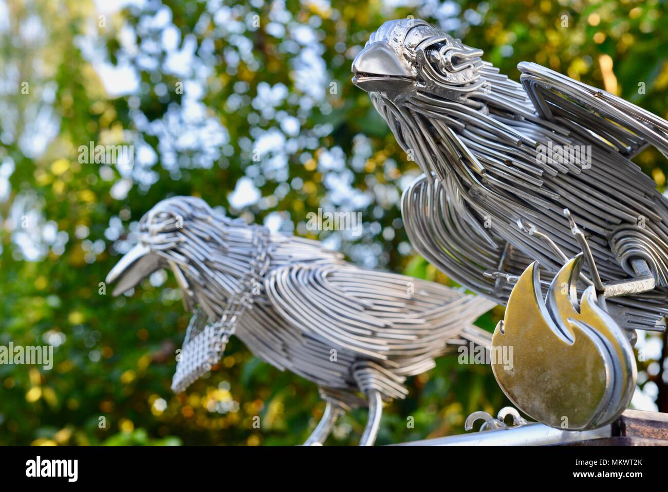 Crows On Wire Stock Photos Images Alamy Wiring Trough Stainless Steel Sculptures Of Ravens Birds Artwork At Jezzine Barracks Kissing Point