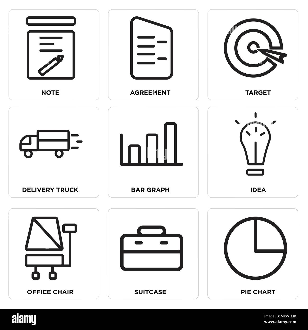 Set Of 9 Simple Editable Icons Such As Pie Chart, Suitcase, Office Chair,  Idea, Bar Graph, Delivery Truck, Target, Agreement, Note, Can Be Used For Mo