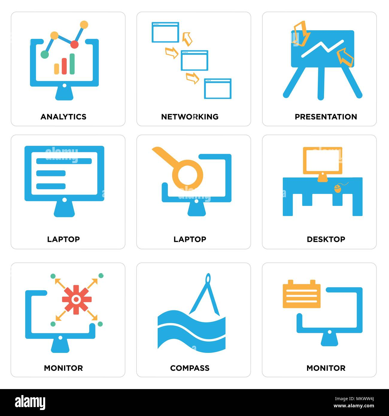 Set Of 9 simple editable icons such as Monitor, Compass, Desktop, Laptop, Presentation, Networking, Analytics, can be used for mobile, web Stock Vector