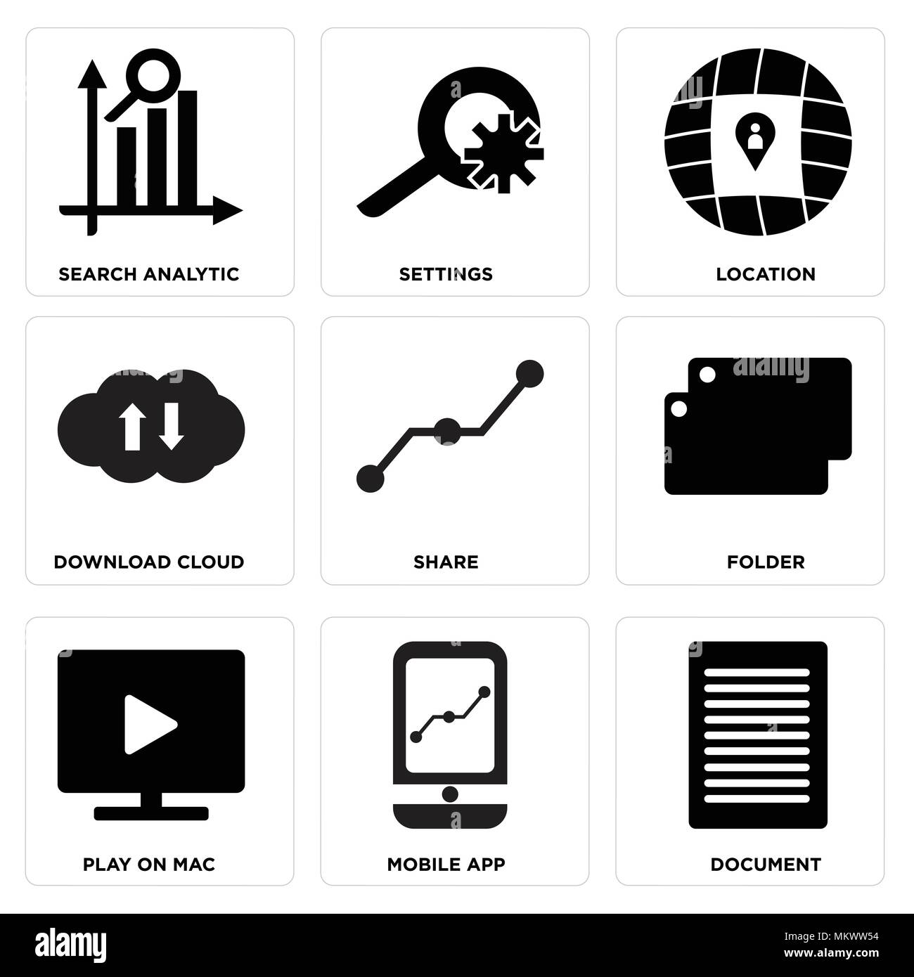 Set Of 9 simple editable icons such as Document, Mobile app