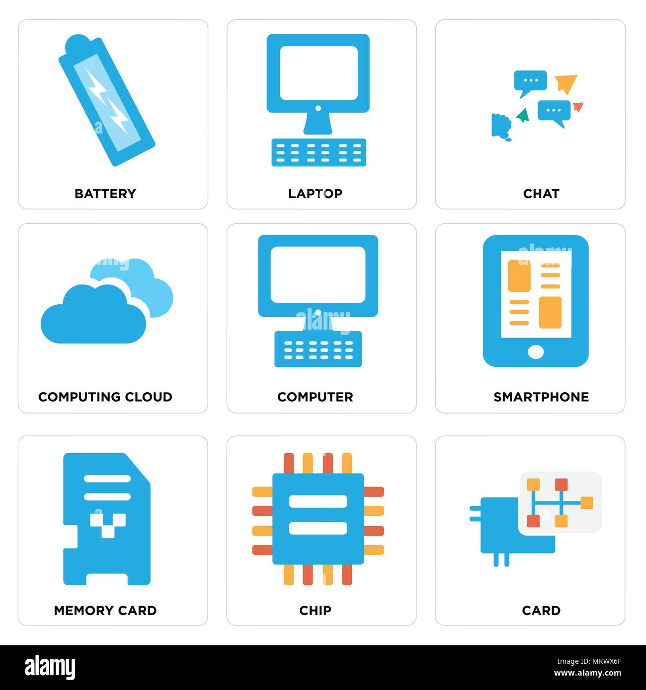 Set Of 9 simple editable icons such as Card, Chip, Memory card, Smartphone, Computer, Computing cloud, Chat, Laptop, Battery, can be used for mobile,  - Stock Image