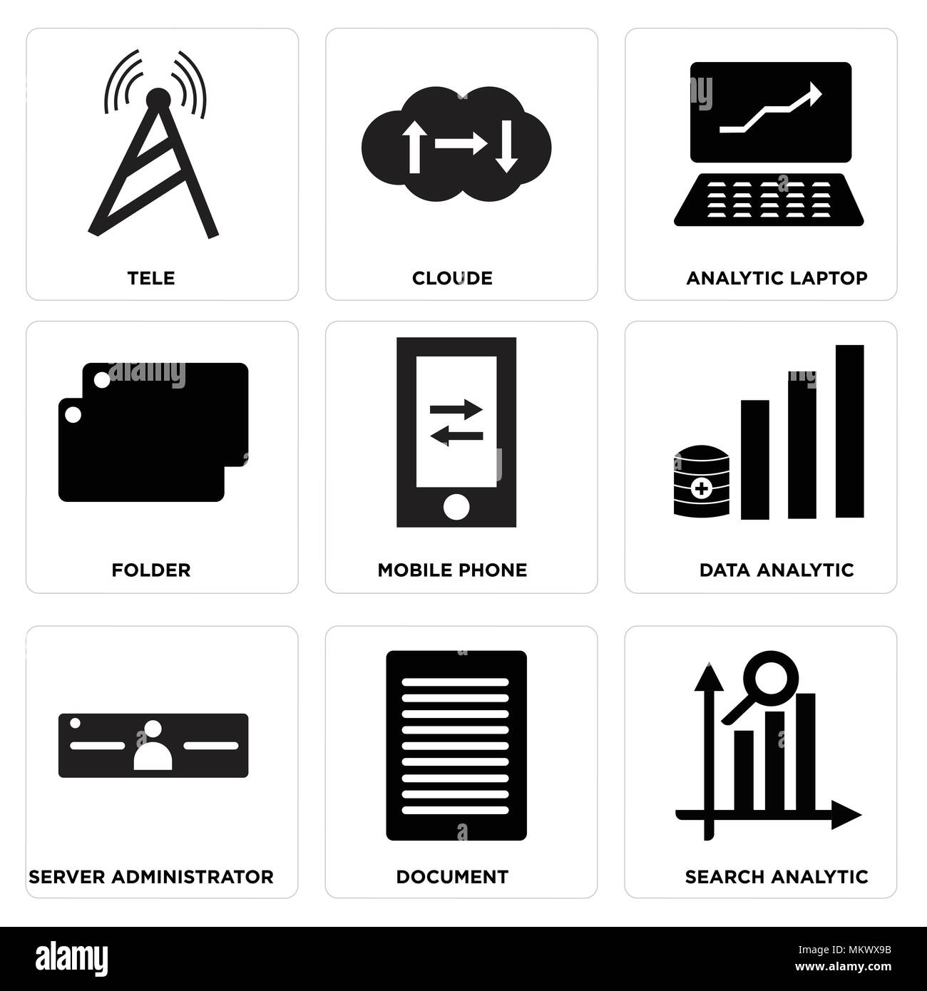 Set Of 9 simple editable icons such as Search analytic, Document, Server administrator, Data Mobile phone, Folder, Analytic laptop, Cloude, Tele, can  Stock Vector