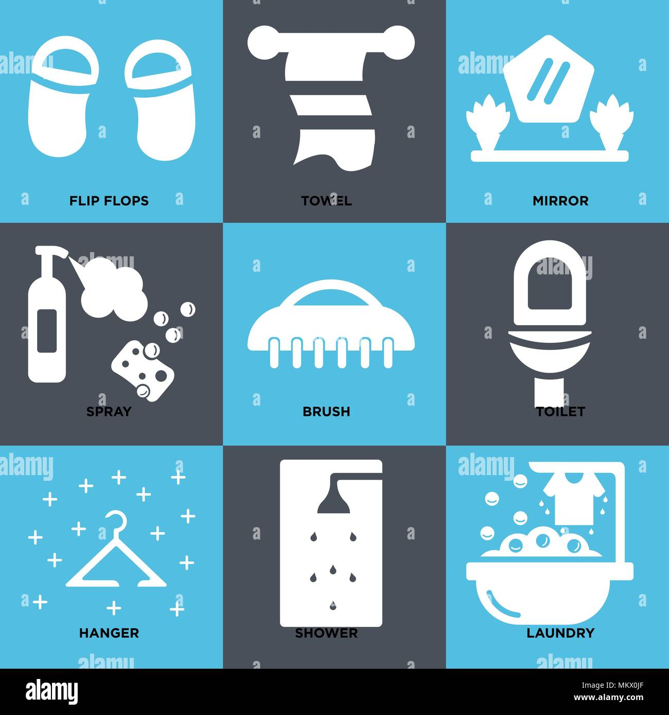 Set Of 9 simple editable icons such as Laundry, Shower, Hanger ...