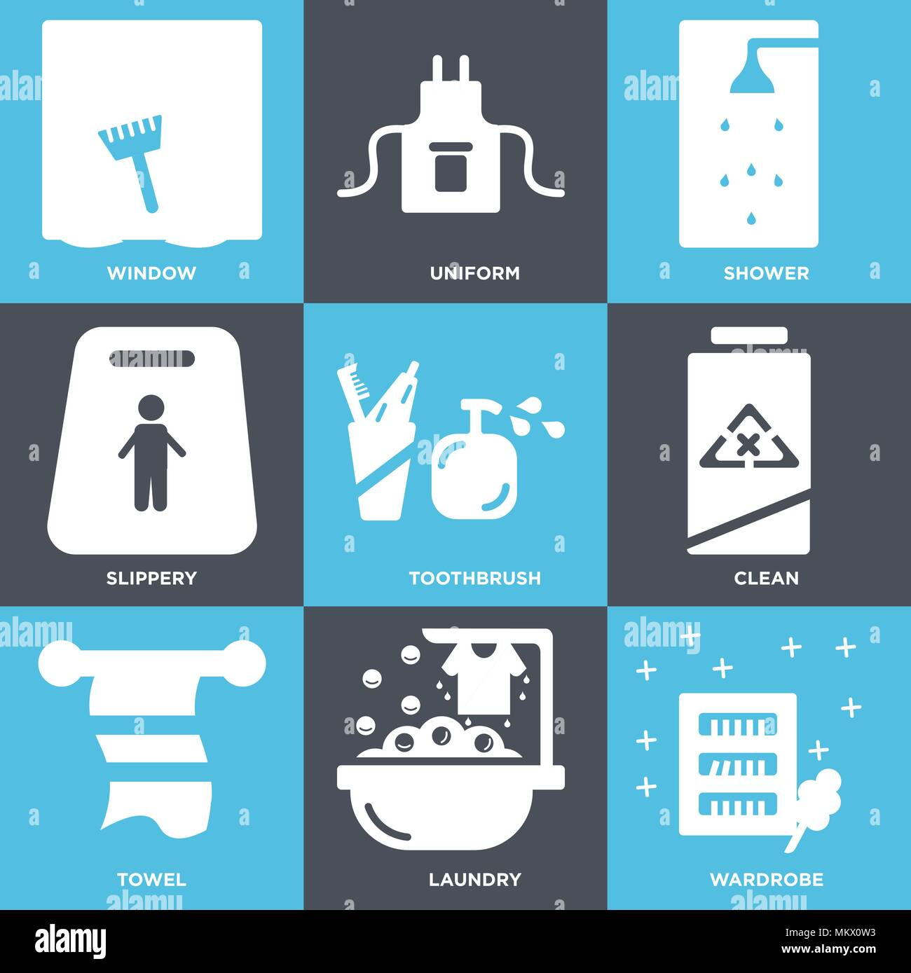 Set Of 9 simple editable icons such as Wardrobe, Laundry, Towel ...