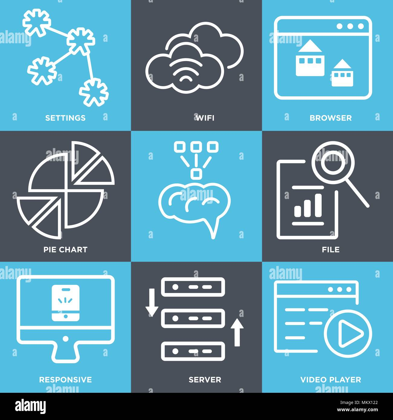Set Of 9 simple editable icons such as Video player, Server