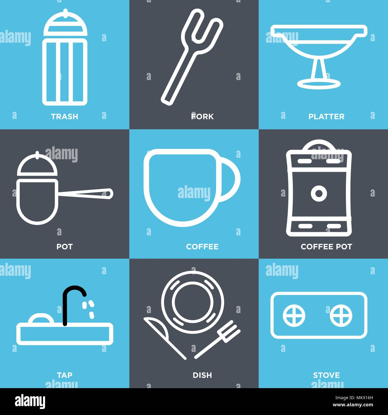 Set Of 9 simple editable icons such as Stove, Dish, Tap, Coffee pot, Coffee, Pot, Platter, Fork, Trash, can be used for mobile, web Stock Vector