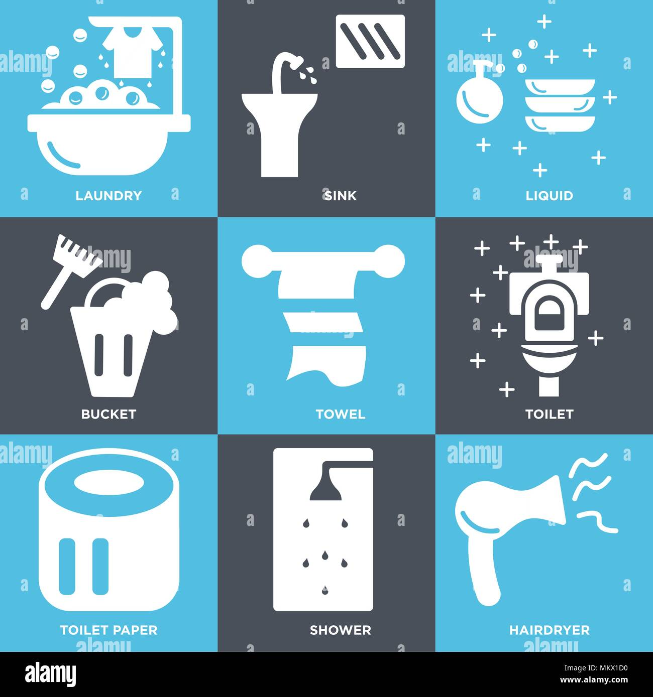 Set Of 9 simple editable icons such as Hairdryer, Shower, Toilet ...