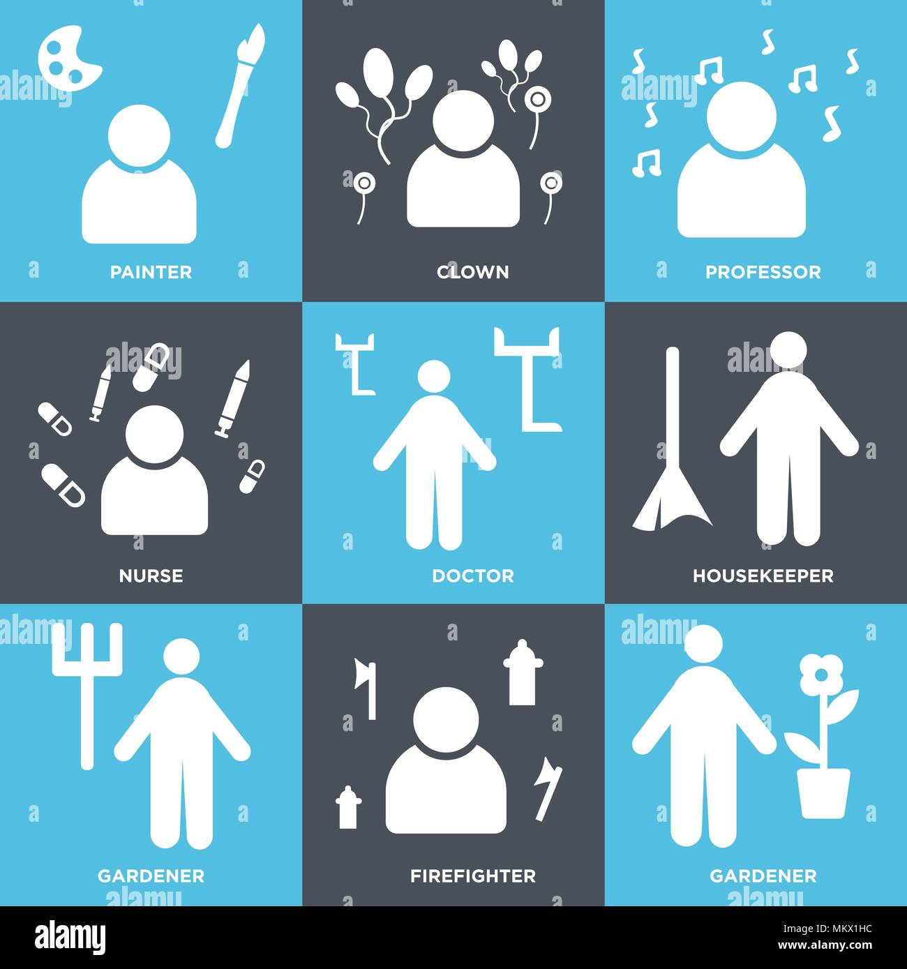 Set Of 9 simple editable icons such as Gardener, Firefighter, housekeeper, Doctor, Nurse, Professor, Clown, Painter, can be used for mobile, web Stock Vector