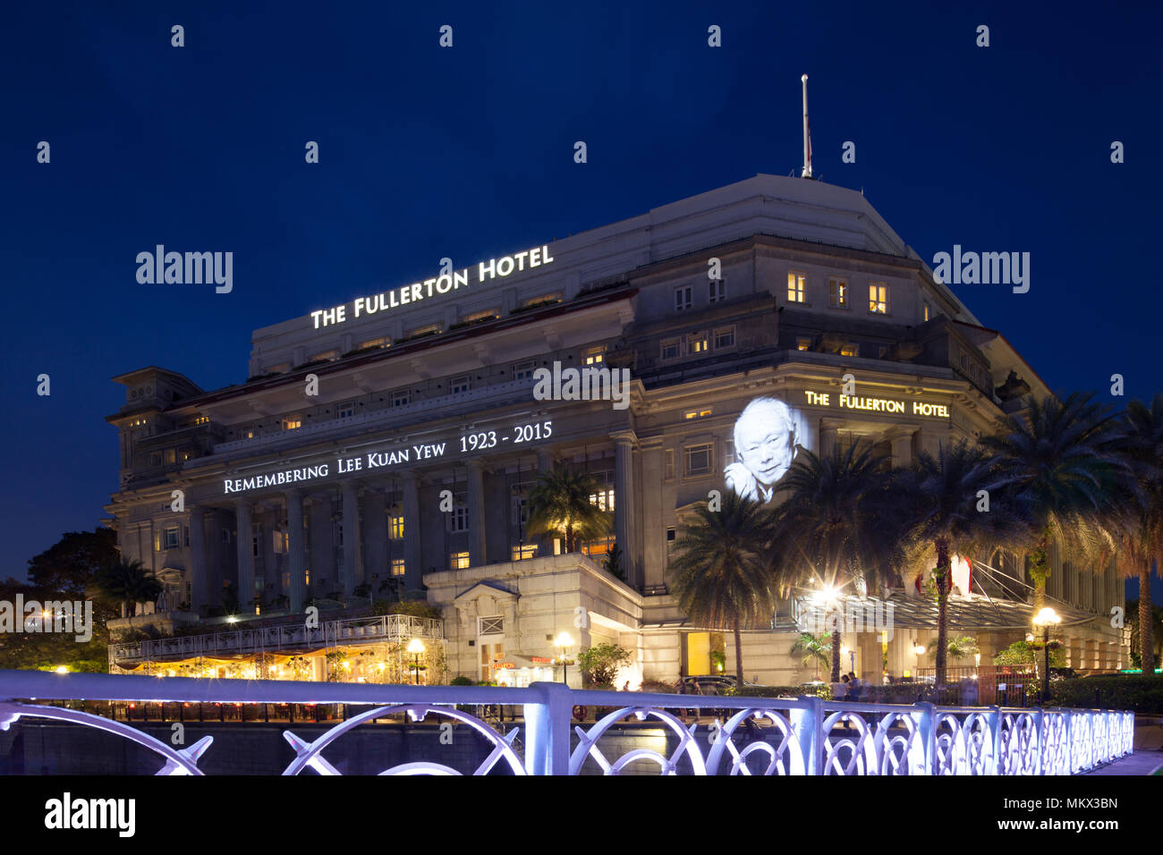 The Fullerton Hotel remembering Mr Lee Kuan Yew who passed away on 23 March 2015 in Singapore.Stock Photo