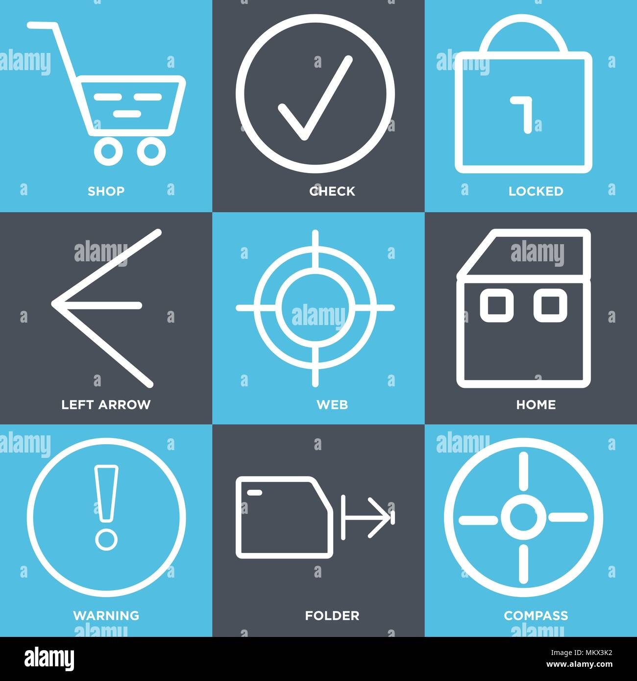 Set Of 9 simple editable icons such as Compass, Folder, Warning, Home, Web, Left arrow, Locked, Check, Shop, can be used for mobile, web Stock Vector
