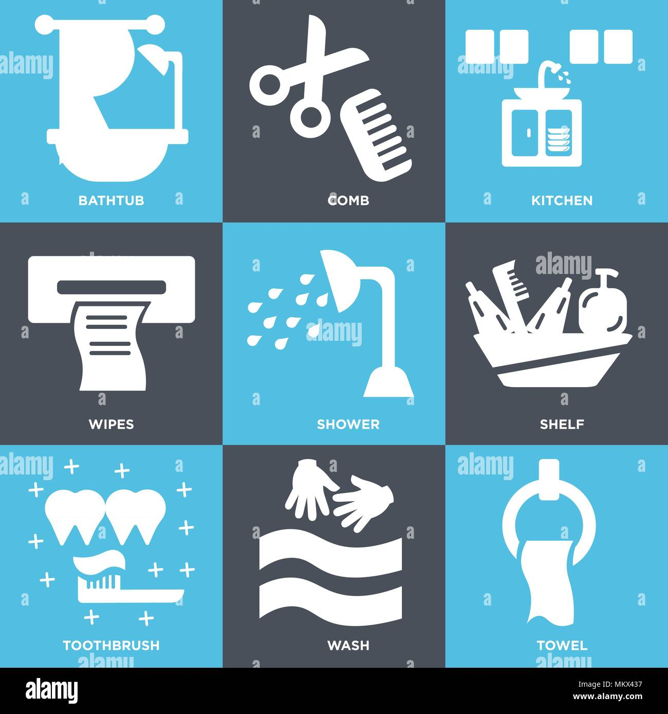 Set Of 9 simple editable icons such as Towel, Wash, Toothbrush ...
